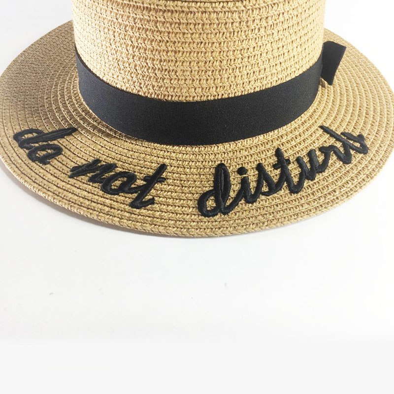 c7613dd9eb8 Ymsaid Korea Style Embroidery Letter Boater Hat Summer Ribbon Round Bow  Flat Top Wide Brim Straw Hat Women Fedora Panama Hat -in Sun Hats from  Apparel ...