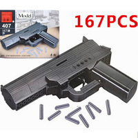 New 167pcs Set 3D Brick Black Weapon Air Gun Block Building Compatible With Model Pistol Toys Boys Gift With Instruction