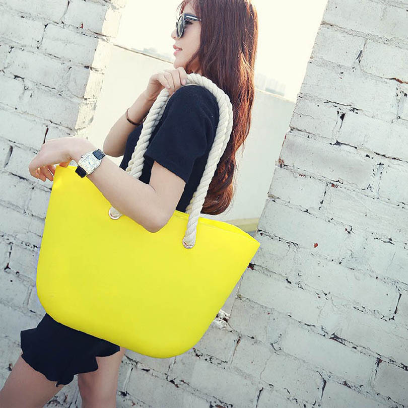 Women Summer Silicone Shopper Tote Beach Bag Ladies Handbags Designer Sweet Candy Color Top-handle Shoulder Bags Bolsa Feminina