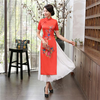 Shanghai Story Red Aodai Vietnam Dress For Women Traditional Clothing ao dai Dress Oriental Dress Chinese Long Cheongsam