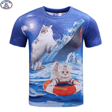 Mr.1991 newest youth fashion funny kitten printed 3D t-shirt for boys and girls summer style cat 3D t shirt big kids tops A32