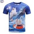 Mr.1991 recentes juventude moda gatinho engraçado impresso t-shirt 3D para meninos e meninas de verão estilo gato 3D t shirt crianças grandes topos A32