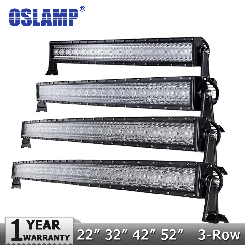 Oslamp 3-Row 14 22 32 42 50 52 Curved LED Light Bar Offroad Spot Flood Combo Beam Led Work Light 4x4 SUV Truck 12v 24v