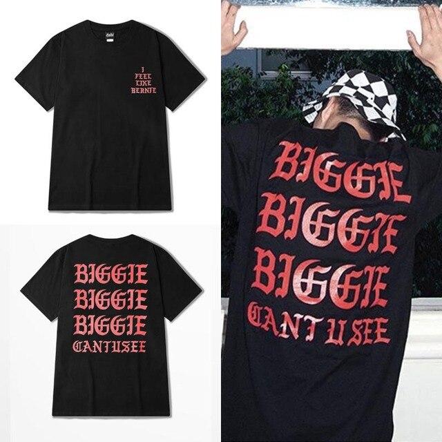 2016 novo kanye west Eu sinto como BIGGIE moda de rua da marca, rap T shirt homens PERDÃO