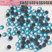 Bulk Packing Rhinestone Transfer Designs Wholesale DMC Aquamarine Rhinestones All Size Strass Rhinestones For Wedding Gowns