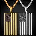 Горячие США Национальный Флаг Ожерелье Американский Ювелирные Изделия Из Нержавеющей Стали/Позолоченный Патриот Ожерелье Для Мужчин Цепи GP1810