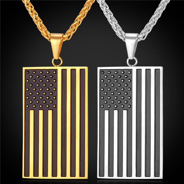 US National Flag Pendant Necklace American Fashion Jewelry Stainless Steel/Gold Plated Patriot Necklace For Men Chain GP1810