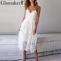 Glamaker White Lace Summer Dress Women Hollow Out V Neck Sexy Dress Sundress Vestidos Female Loose