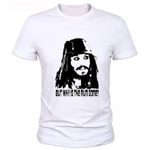 2017 New style Short-sleeves T-shirt Men Pirates of the Caribbean shirt White punk prints captain jack sparrow Hip hop t shirt(China)