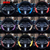 VOLTOP Leather Colorful Steering Wheel Cover Ornaments Car Accessories Decoration Four Seasons Universal 36-38cm Sport Non-slip