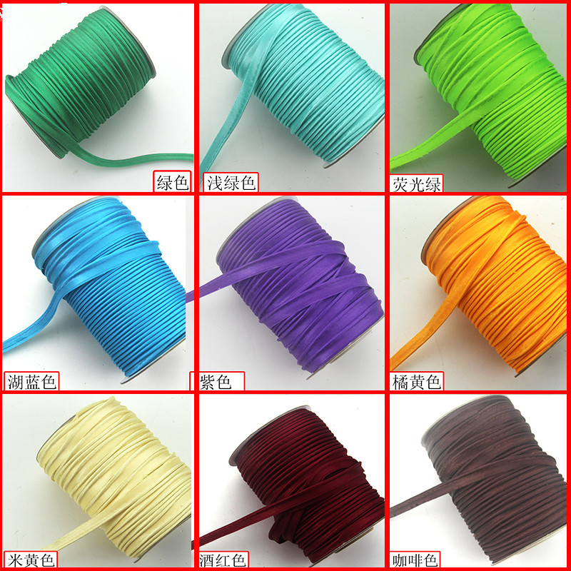 10mm Polyester Glossy Piping Satin Bias Cord Tape For DIY