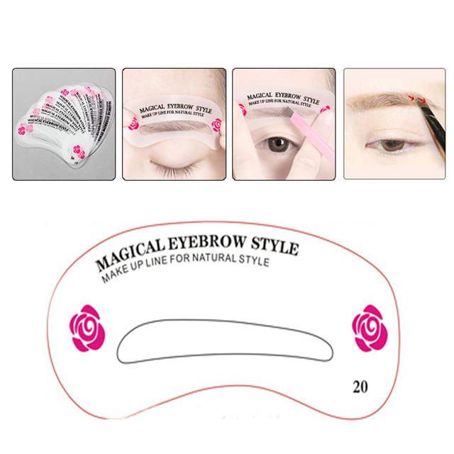 Multiple Styles Cosmetic Groom Template Card DIY Easy Shaping Reusable Eyebrow Stencil Makeup Drawing Guide Beauty Kit 24PCS Set 2