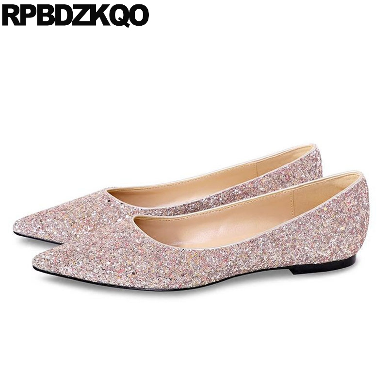 Glitter Autumn Spring Bling Sequins Single Shoes Dress Gold Sparkling Slip On Flats Women Silver Wedding Size 33 Pointed Toe sparkling glitter pointed toe pumps fashion shoes with matching clutch bag bling bling kit silver red party queen set prom kit