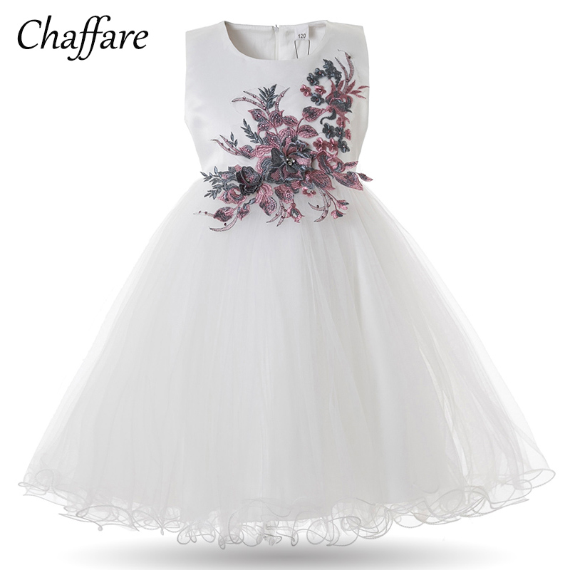 Chaffare Flower Girls Dress Blanco Princesa vestidos de fiesta de - Ropa de ninos