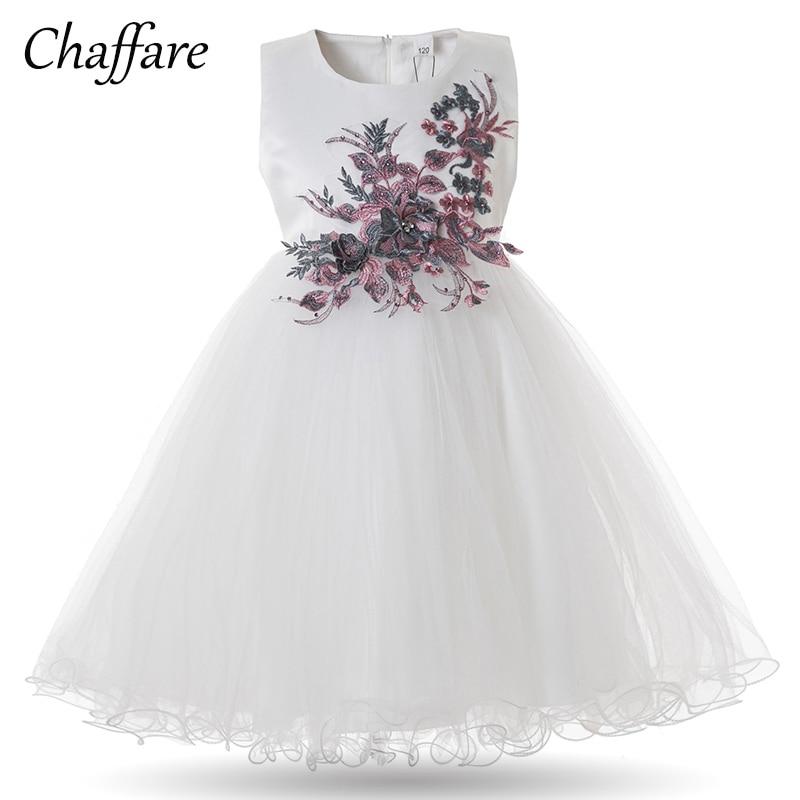 b3a823c02f1cb Chaffare Fleur Filles Robe Blanche Princesse Robes De Fête De ...