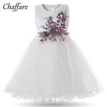 Chaffare Blumenmädchen Kleid Weiß Prinzessin Hochzeit Party Pageant Kinder Ball Ballkleid Formale Baby Applique Fancy Kleider