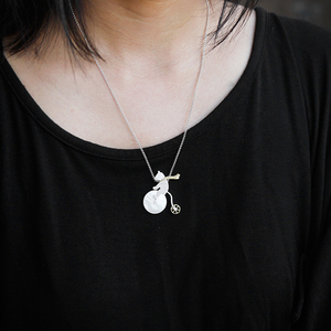 Image 4 - Lotus Fun Real 925 Sterling Silver Handmade Design Fine Jewelry Cute Bicycle Riding Bear Pendant without Necklace for Women