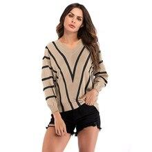 Street casual stripe deep v-neck loose bat sleeve bottoming womens shirt sweater free shipping