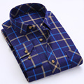 New Spring Mens Casual Flannel Shirt Thicken Cotton Sanding Plaid Men's Long Sleeve Shirt