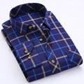 Nueva Primavera Para Hombre Casual Camisa de Franela Espesar Lijado de Algodón A Cuadros de Los Hombres Camisa de Manga Larga