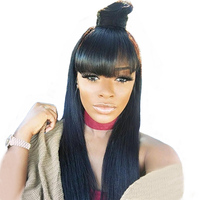 360 Lace Frontal Wig With Bangs 150% Pre Plucked Lace Front Human Hair Wigs For women Natural Black Brazilian Remy Straight Wig