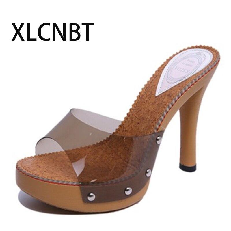купить sexy high-heeled slipper transparent shoes women comfortable wedges pep mouth sandals slipper cool procrastinate women slides по цене 1570.74 рублей