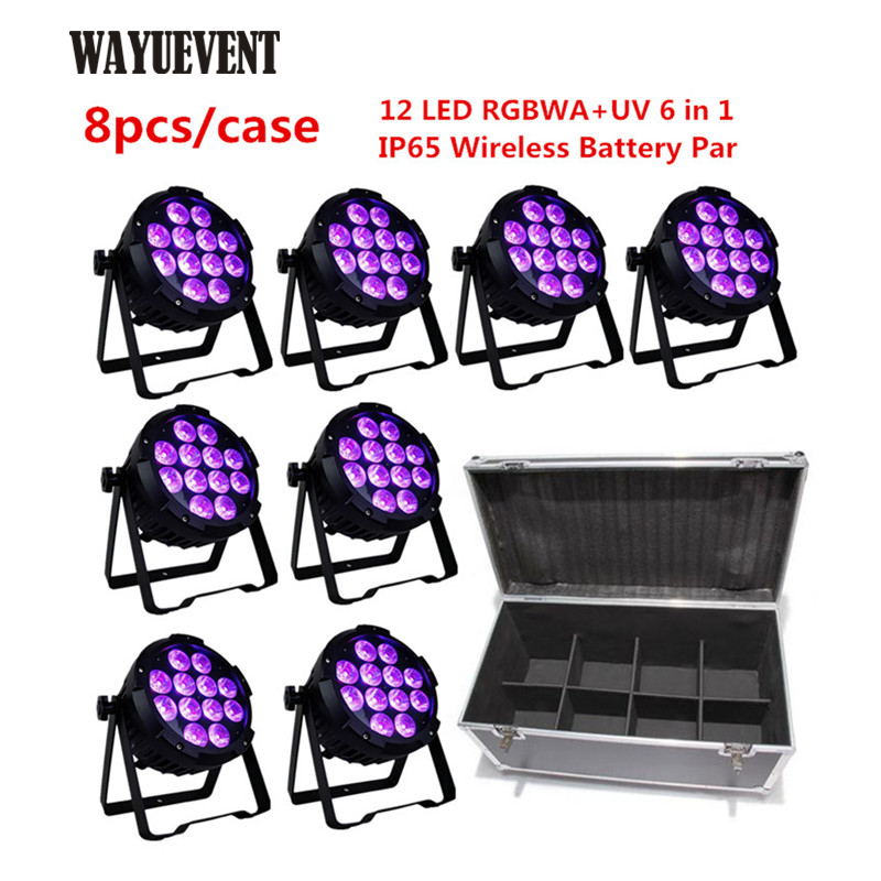 8pcs+Flight Case 12x10W LED Waterproof Light Wireless battery Par Light Remote Phone APP WIFI control outdoor led stage lights