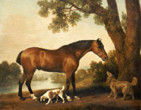 Art large Oil painting Hunter and Spaniels Horse Dog in landscape on canvas 36