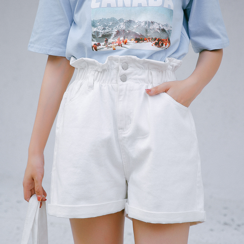 Shorts Women 2019 Summer Oversized Ladies Elastic Waist Short Jeans Button Fly Casual Plus Size Cotton High Waist Denim Shorts in Shorts from Women 39 s Clothing