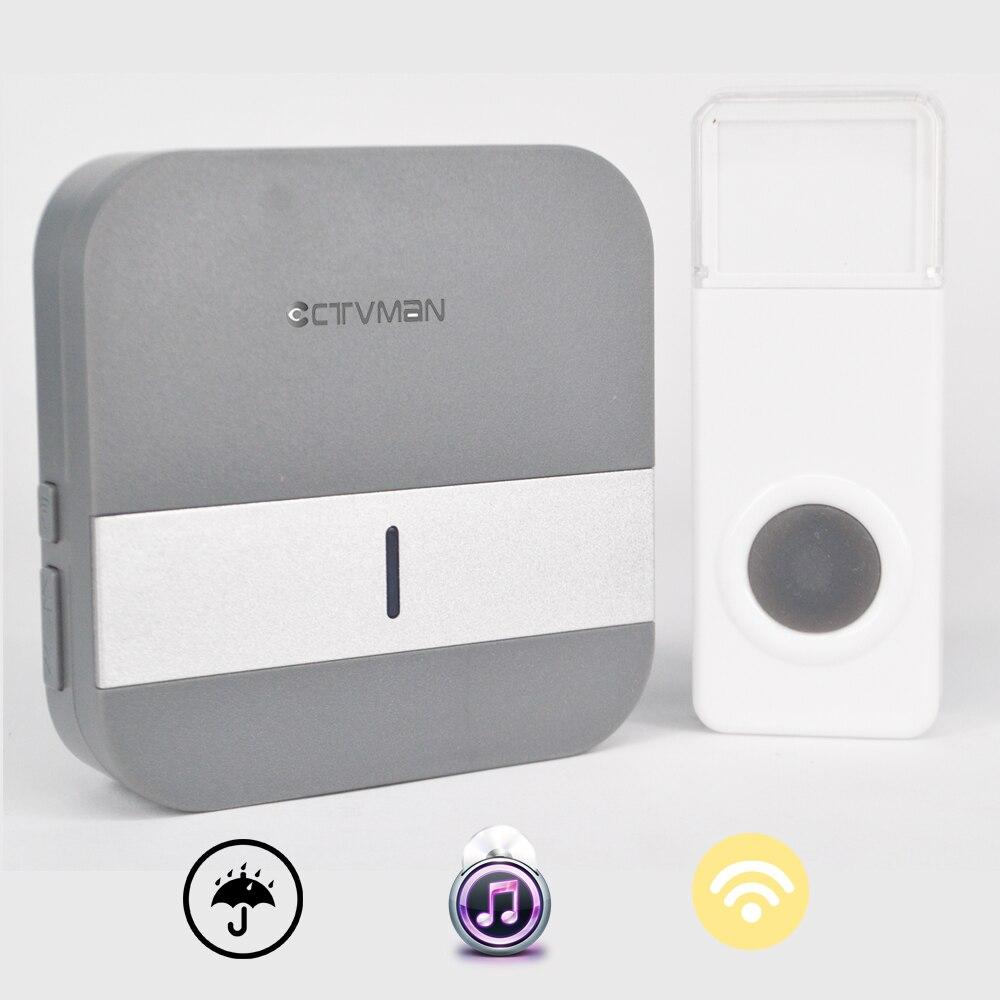 Ctvman Дверные звонки WiFi дома Беспроводной дверной звонок Поддержка 110 ~ 230 В Беспроводной Дверные звонки 300 м Водонепроницаемый Кнопка ЕС /US/UK ... ...