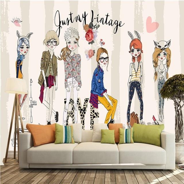 e90310ff150 Custom photo wallpaper Fashion girl series decoration background wall clothing  store shopping mall children room wallpaper mural