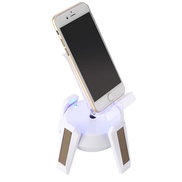 360 Degree Rotating Mobile Phone Solar powered Display Stand Turn Table Curve XD Holder Organzier Showed Case with LED Light