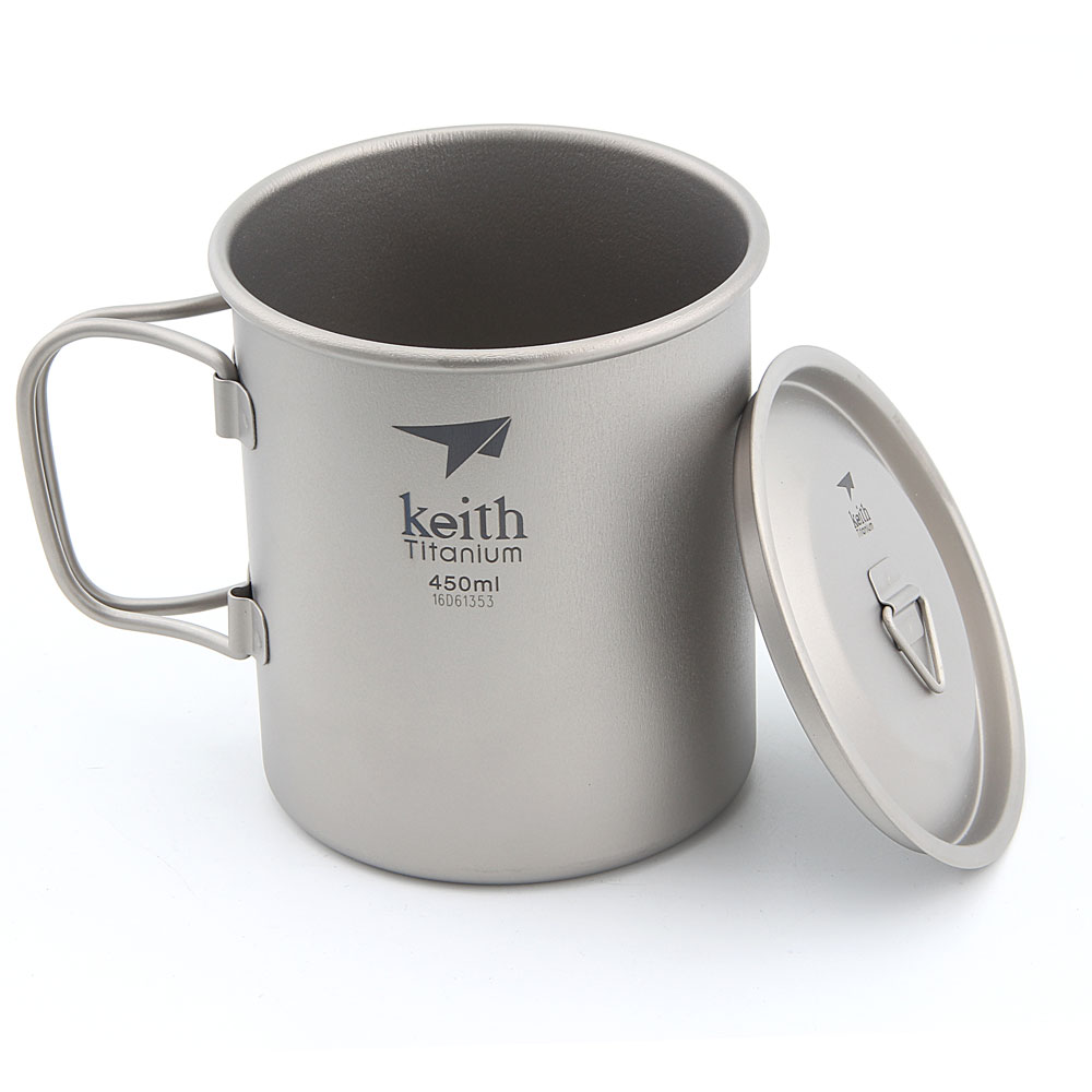 Keith titane voyage randonnée Camping pliant tasse à eau Portable tasse 450 ml Ti3204