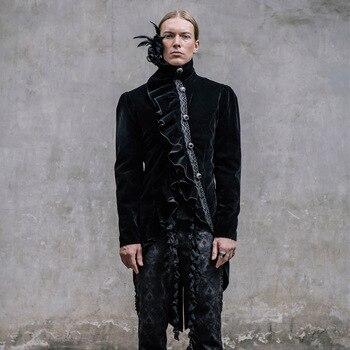 Стимпанк для мужчин's куртка «ласточкин хвост» Асимметричная Стенд воротник черный однобортный пиджак модное пальто