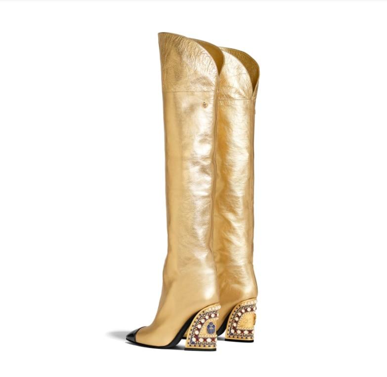 Новые модные кожаные туфли в европейском и американском стиле золотистого цвета Фирменные трубы в специальной форме с водяным сверлом Сред... - 2