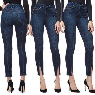 S - XXL 2018 Skinny Slim High Waist Pencil Pants Women Stretch Sexy Denim   Jeans   Bodycon Leg Split Trousers