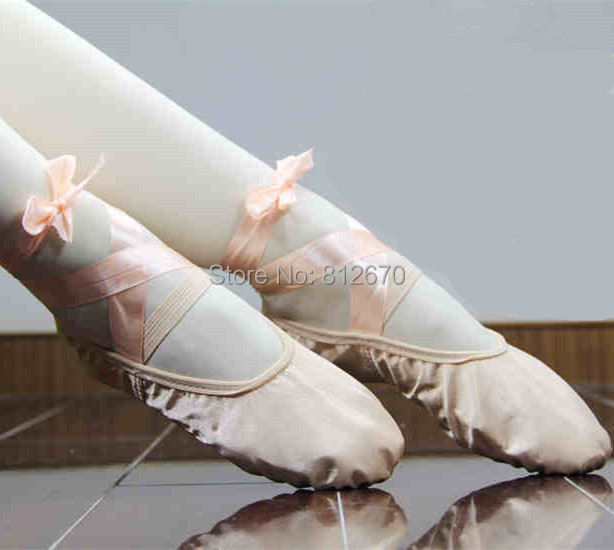 2017 kids ballet shoes pink satin ballet shoes soft girls praticing shoes in stock ballet shoes  XC-4033
