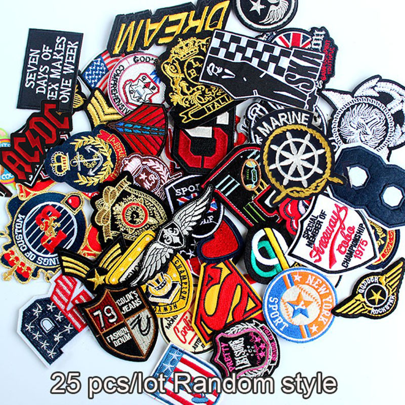 25pcs wholesale mixed sizes random sew on iron on clothes patches embroidered badge for clothing clothes DIY accessory