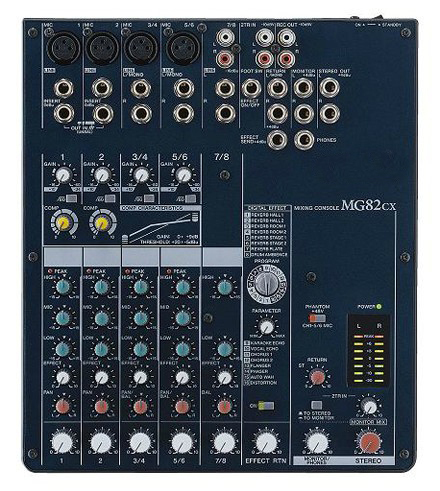 MG82CX 8 channel build in digital vocal echo reverb effect 3 band EQ professional audio mixer boss ve 1 vocal echo