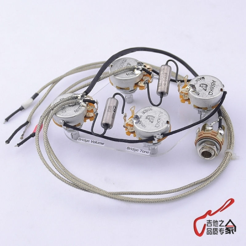 1 Set GuitarFamily  Electric Guitar  Pickup Wiring Harness  For LP SG Dot ( 4x GF 500K Pots + 1x Jack )  ( #0814 ) chrome oval indented 1 4 guitar pickup output input jack socket contains 2 mounting screws for bass guitar
