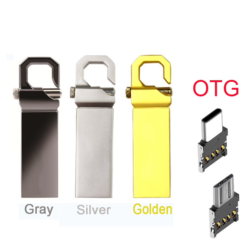 Free Shipping USB Flash Drive 64GB Metal Pendrive High Speed USB Stick 32GB Pen Drive 16GB OTG USB Micro Type-C 128GB STICK 64G