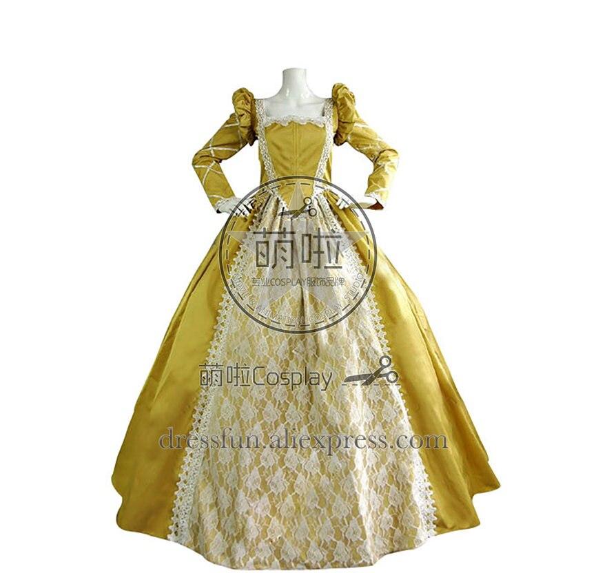 Victorienne Lolita reine Elizabeth Tudor période gothique Lolita robe jaune à manches longues robe classique de haute qualité expédition rapide