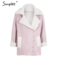 Simplee Faux Suede Lamb Fur Turn Down Jacket Coat Women Casual Leather Trench Zipper Coat Winter