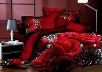 500TC красная романтическая роза с цветочным принтом Комплект постельного белья для девочек 3D картина маслом постельное белье хлопок полный