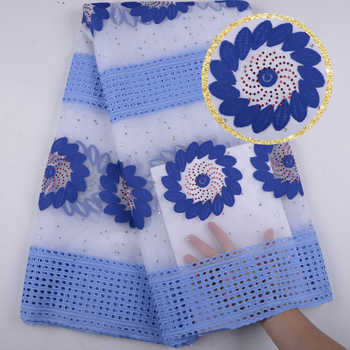 Best Quality African Lace Fabric Blue Milk Silk Lace Fabric Emboridery With Rhinestones Mesh 2018 French Lace Fabric F1540 - DISCOUNT ITEM  35% OFF Home & Garden