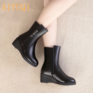 Image 5 - AIYUQI  Female Mother Boots Non slip Wedge 2020 New Genuine Leather Female Snow Boots Thick Wool Warm Female Winter Boots Shoes