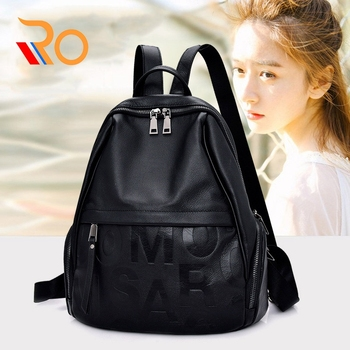 Women's New Fashion large-capacity Letter Pattern Leather Backpack Cylindrical First Layer Leather Lychee Shoulder Bag