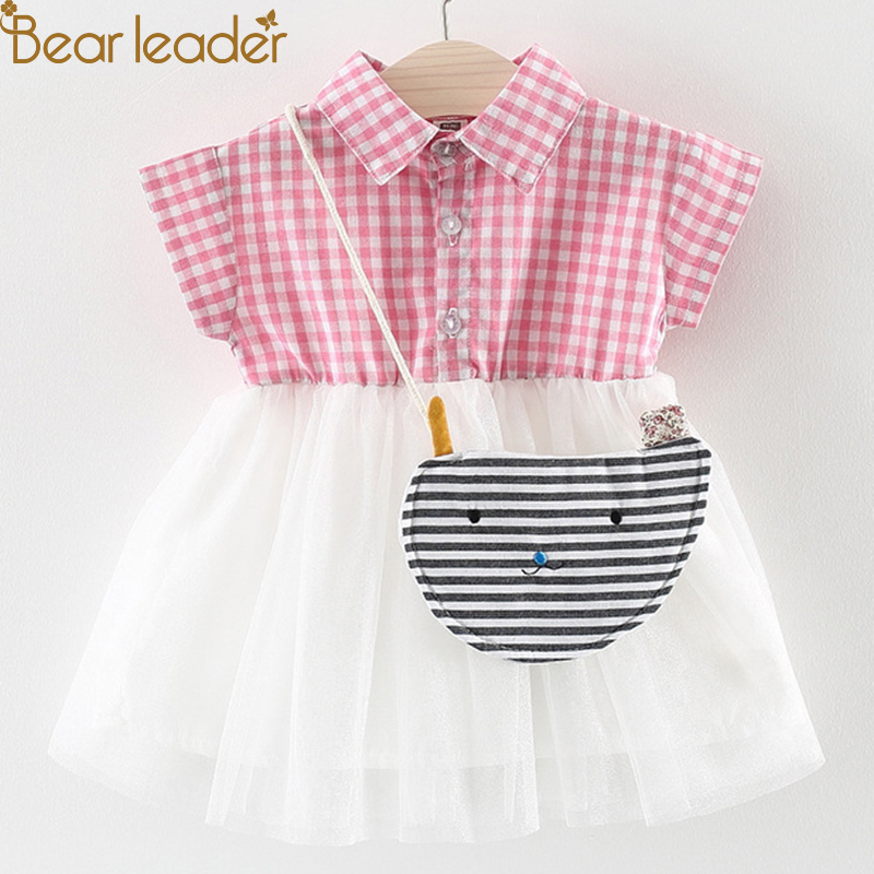Bear Leader Baby Dresses 2018 New Summer Baby Girls Clothes Plaid & Lace Patchwork With Bag Princess Newborn Dresses For 6M-24M