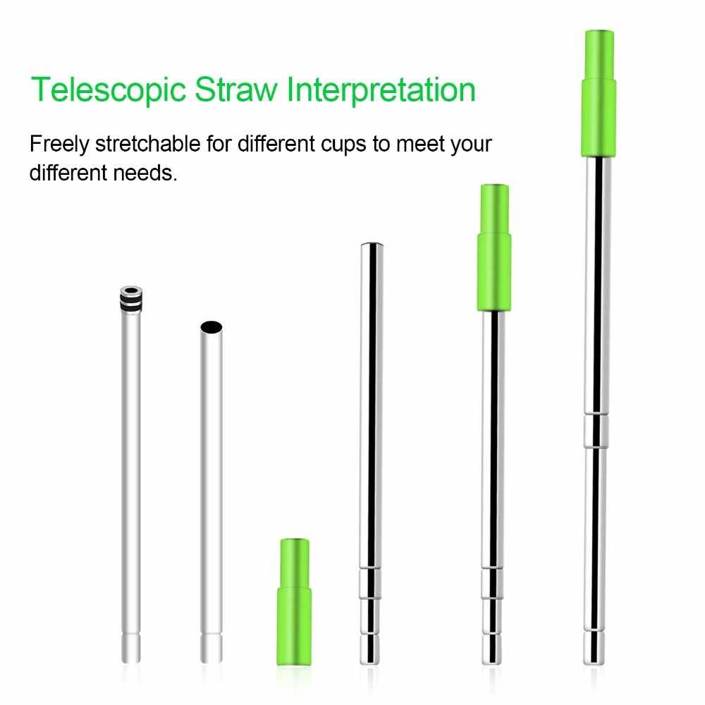 Detachable Portable Telescopic Stainless Steel Straw Reusable with Case Cleansing Brush Environmental Silicone Tip for Travel in Drinking Straws from Home Garden