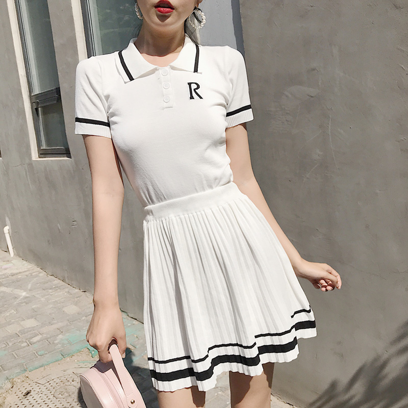 Summer Preppy Style Retro Knitted Tennis Embroidery Strip Polo Shirt & A-line Mini Pleated Skirt Suit Set Girls Sweet 2pcs Set